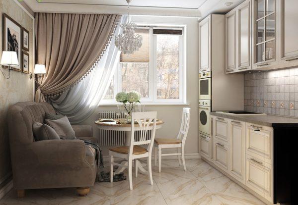 Дизайн штор для классической кухни - какой материал и цвет выбрать