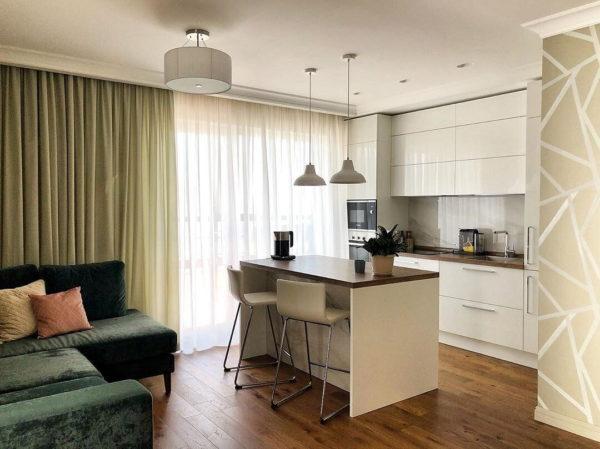 Дизайн совмещенной кухни и гостиной небольших размеров
