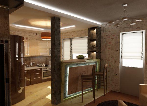 Как отделить кухню от гостиной - виды и материалы перегородок