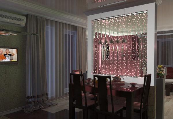 Перегородка между кухней и гостиной с подсветкой