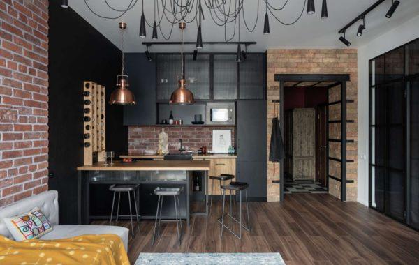 кухня-студия в стиле лофт