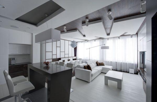 Кухня гостиная в доме - идея совмещения со столовой и варианты зонирования