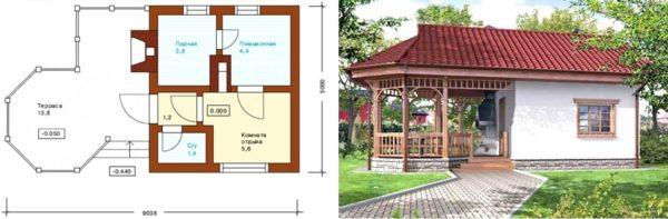Проект летней кухни с баней и террасой