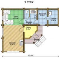 Проект двухэтажной угловой бани - 1 этаж
