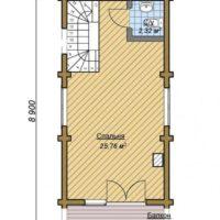 Проект двухэтажной угловой бани - 2 этаж