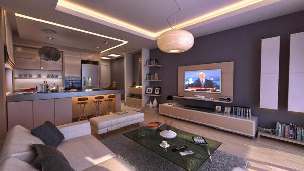 Телевизор посередине кухни-гостиной
