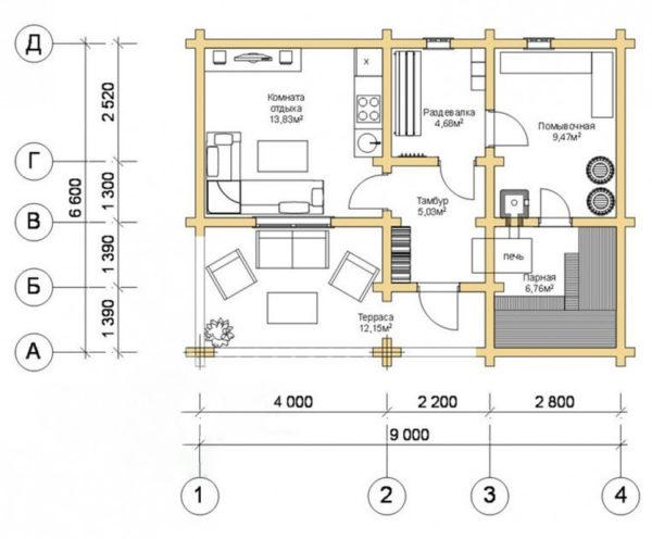 Проект планировка бани с летней кухней