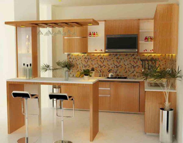 Кухонный гарнитур расположен вдоль глухих стен