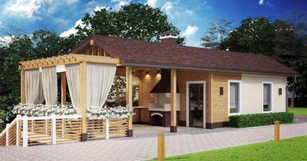 Проект летней кухни с объединенной террасой и баней