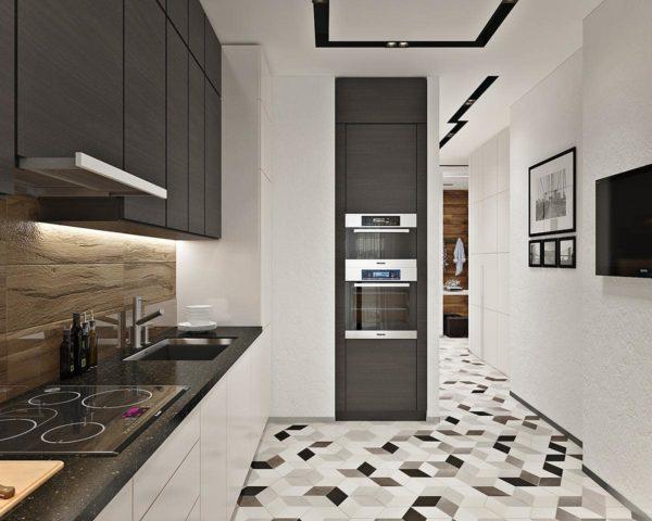 Шкафыдо потолка со встроенным кухонным оборудованием