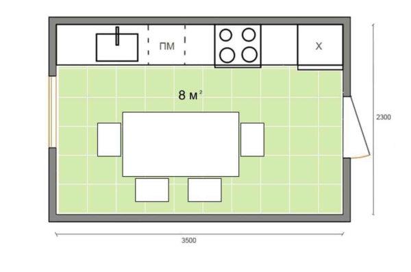 Линейная планировка кухонного гарнитура
