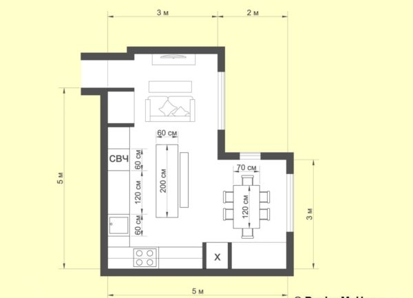 Г-образная планировка кухонного гарнитура