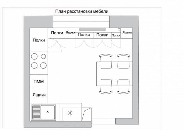 П-образная планировка кухонного гарнитура