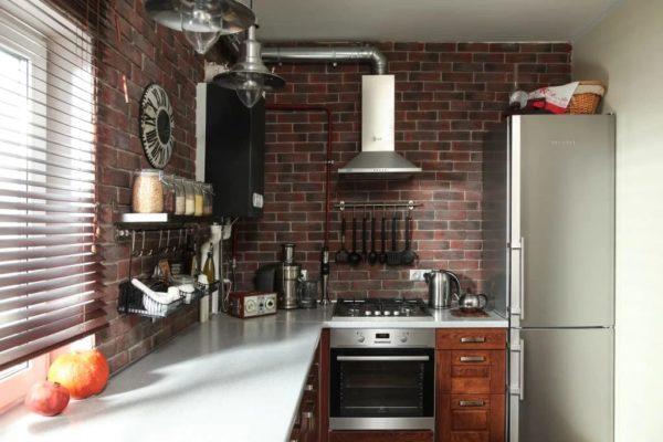 Кухня-лофт с котлом индивидуального отопления