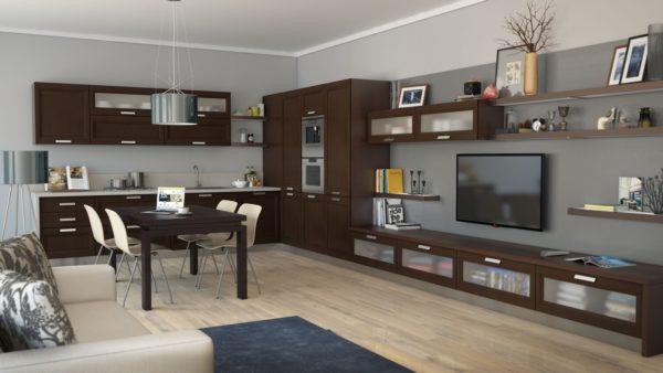 Кухня-гостиная с TV в центре внимания