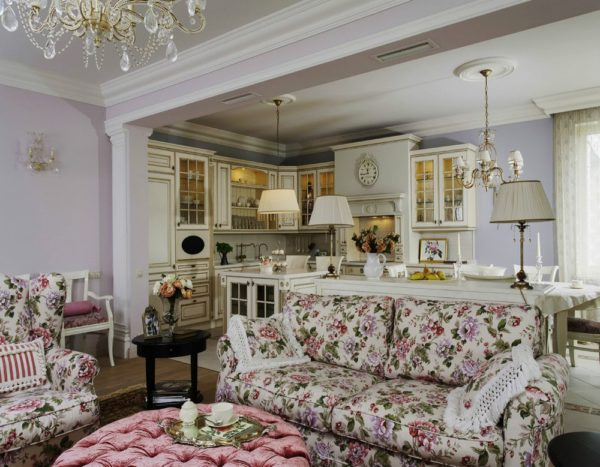 Дизайн кухни-гостиной в стиле прованс