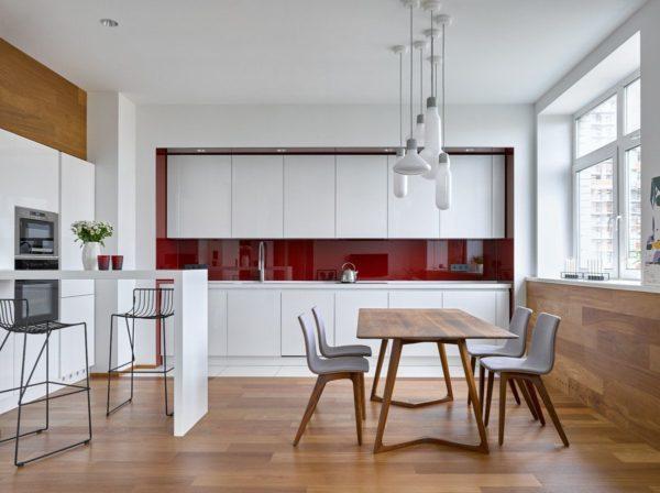 Дизайн красно белой кухни - идеи оформление интерьера и расстановки акцентов