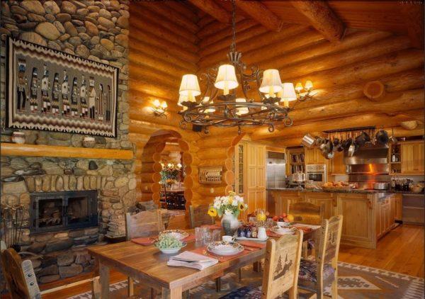 Дизайн кухни в деревянном доме из бревна или бруса