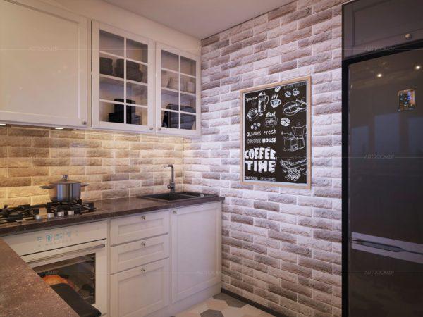 Фартук кирпичиками на кухне - идеи оформления рабочей зоны