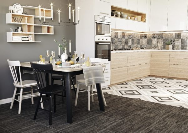 Пол на кухне из плитки и ламината - варианты комбинирования и идеи дизайна
